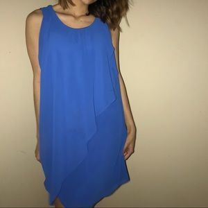 Blue asymmetrical dress with back cutout